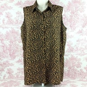 Allison Taylor Tunic Plus Size Blouse Black Brown